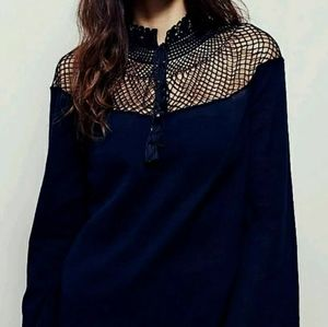 Free People On The Island Boho Top - Navy Blue - L